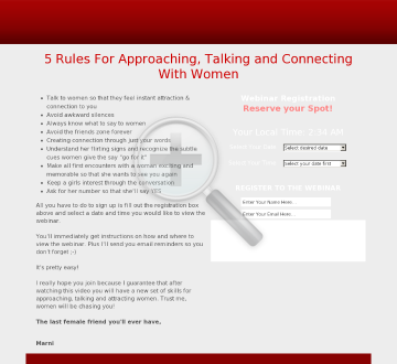 5 Power Principles Webinar : Approaching, Talking and Connecting To Women preview. Click for more details