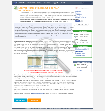 DiskInternals Excel Recovery Home license preview. Click for more details