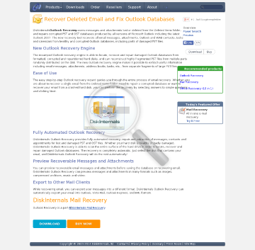 DiskInternals Outlook Recovery Home license preview. Click for more details