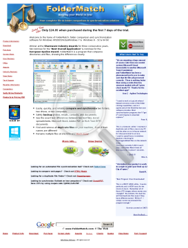 FolderMatch Site License (Unlimited computers at one physical site) preview. Click for more details