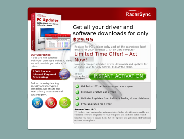 RadarSync PC Updater 2010* 12 months subscription preview. Click for more details