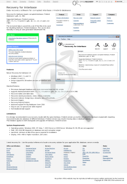 Recovery for Interbase 2.6 Standard License preview. Click for more details