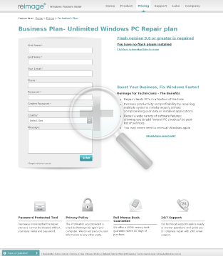 Reimage Windows Repair  Business plan Business Plan Starter  limited to 8 repairs/month preview. Click for more details