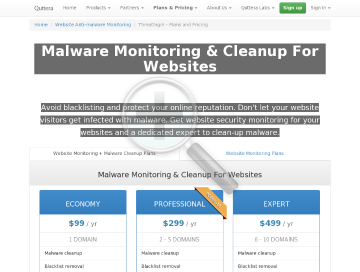 ThreatSign!  Website AntiMalware security solution Economy account. Yearly plan. (99USD/ yr.) preview. Click for more details