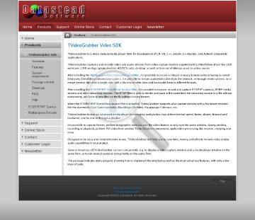 TVideoGrabber SDK 10.1 + RTSP/RTMP/HTTP DirectShow Filter + Multipurpose DirectShow Encoder. Royaltyfree developer license, 2 years of upgrades and email support included. preview. Click for more details